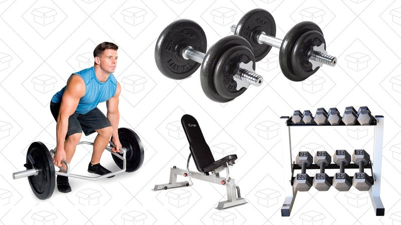 Cap Barbell Solid Hex Dumbbell Set with Rack | $160 | AmazonCAP Barbell Olympic 2-Inch Combo Hex Bar | $90 | AmazonCAP Barbell 40-pound Adjustable Dumbbell Set with Case | $40 | AmazonCAP Barbell Power Rack Exercise Stand, Deluxe Utility Weight Bench, and Olympic Bar | $295 | Amazon