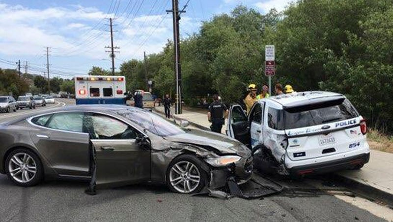 The scene of the accident involving a Tesla vehicle running in autopilot mode in Laguna Beach, California on May 29th, 2018.