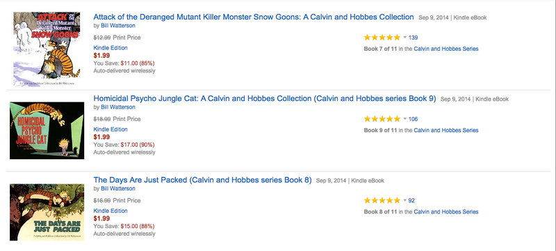 Illustration for article titled Every Title in the Calvin and Hobbes Kindle Library Is $2 Right Now