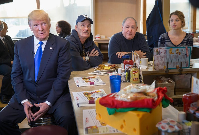 Republican presidential candidate Donald Trump waiting to be interviewed by Fox News at a George Webb diner on April 5, 2016, in Wauwatosa, Wis. (Scott Olson/Getty Images)