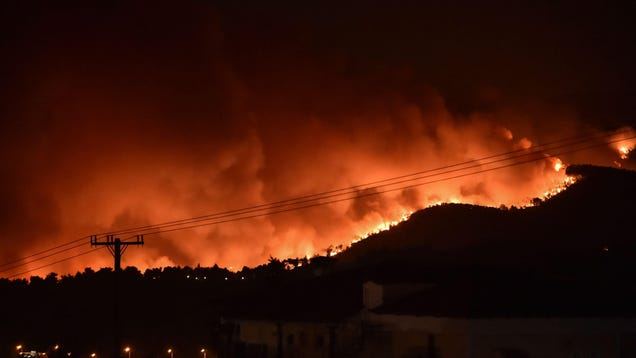 Wildfires Continue to Rage Across Greece, Cutting Island in Half and Forcing Thousands to Flee