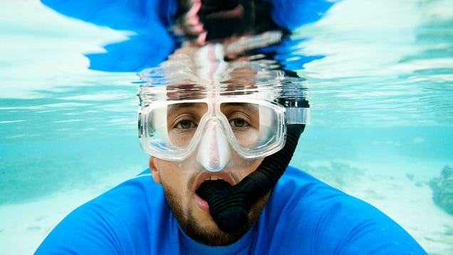 Vacationing Steph Curry Absolutely Gnawing On Snorkel