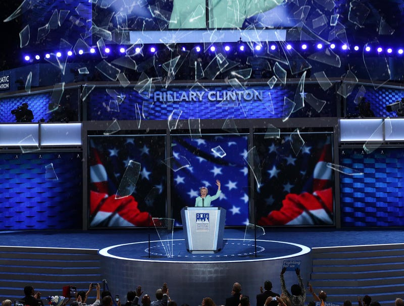 Illustration for article titled DNC Honors Historic Nominee By Dropping Broken Glass Shards From Ceiling