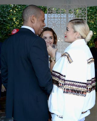 Rapper-producer Jay Z and recording artist Rita Ora at the Roc Nation Pre-Grammy Brunch Jan. 25, 2014, in Beverly Hills, Calif.Larry Busacca/Getty Images
