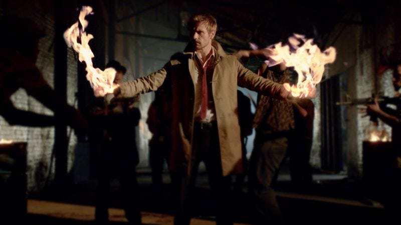 Constantine doing the only kind of lighting up approved by NBC.