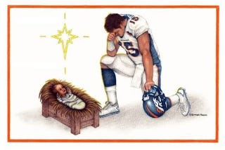 Illustration for article titled For Unto You Is Born This Day In The City Of Denver A Savior, Which Is Tim Tebow (Expedited Shipping Available)