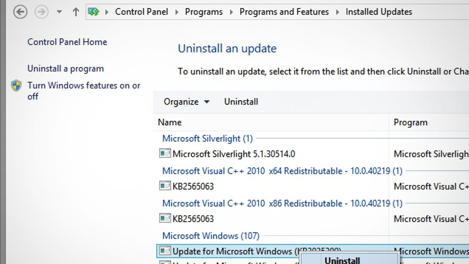 How to Uninstall a Windows Update that Broke Something