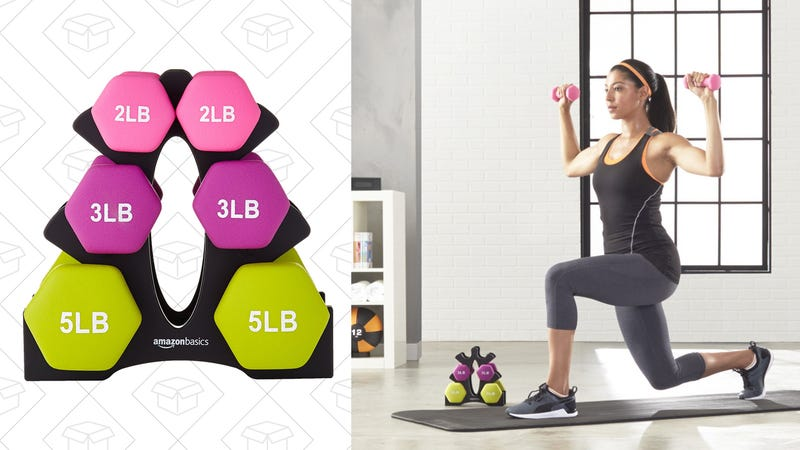 AmazonBasics 20-Pound Dumbbell Set with Stand, $21