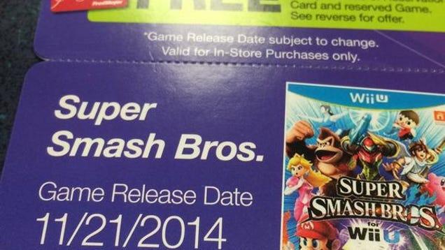 Super smash bros 4 wii u release date in Australia