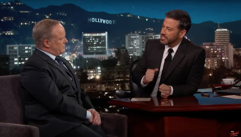 Former White House press secretary takes grilling with humor on 'Kimmel'