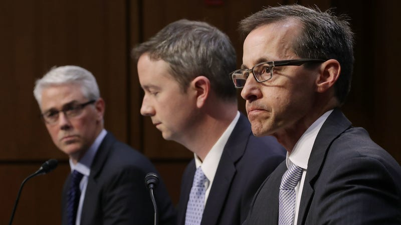 Facebook General Counsel Colin Stretch, Twitter acting General Counsel Sean Edgett and Google Law Enforcement and Information Security Director Richard Salgado testify before the Senate Judiciary Committee's Crime and Terrorism Subcommittee  on Capitol Hill in Washington, D.C., on Oct. 31, 2017, about Russian attempts to spread disinformation and purchase political ads on their platforms during the 2016 presidential election cycle. (Chip Somodevilla/Getty Images)