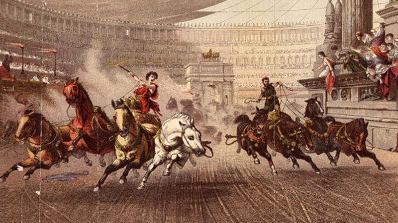 Illustration for article titled Roman Populace Constantly Argues Whether Chariot-Racing Is Actually A Sport