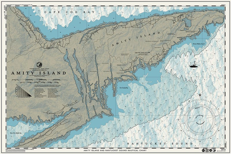 amity island map with This Jaws Inspired Nautical Poster Is Just Brilliant 1677275514 on North Stradbroke Island Moreton Bay further Shark Attack 1916 Deaths Sparked Fear Endures Today likewise Time To Move On Newport Rhode Island also Uwl map11 together with 289431.