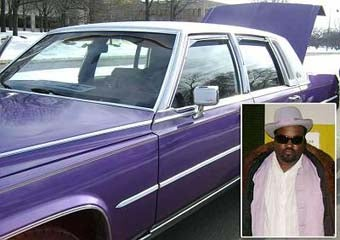 Illustration for article titled Mister Oldskool's Purple Cadillac Proves Unsuccesful As Inconspicuous Getaway Vehicle