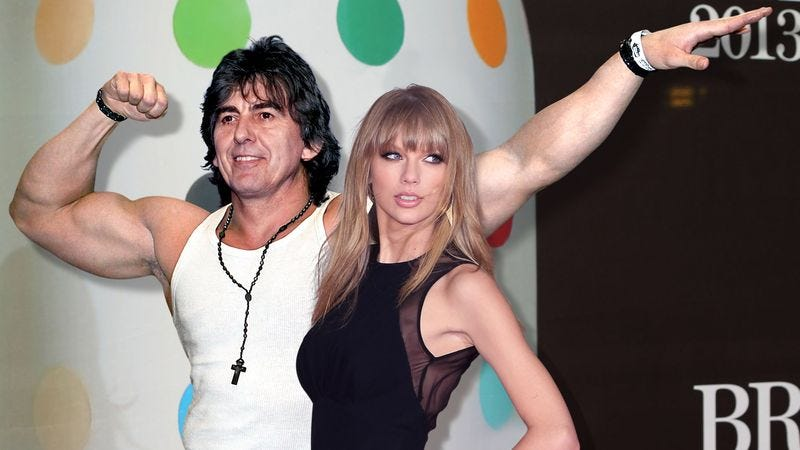 Illustration for article titled Taylor Swift Enters Alternate Universe To Date Body-Building George Harrison