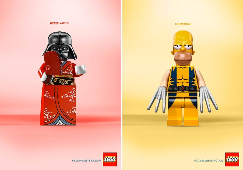 Illustration for article titled Bizarre Lego mash-up would make awesome posters