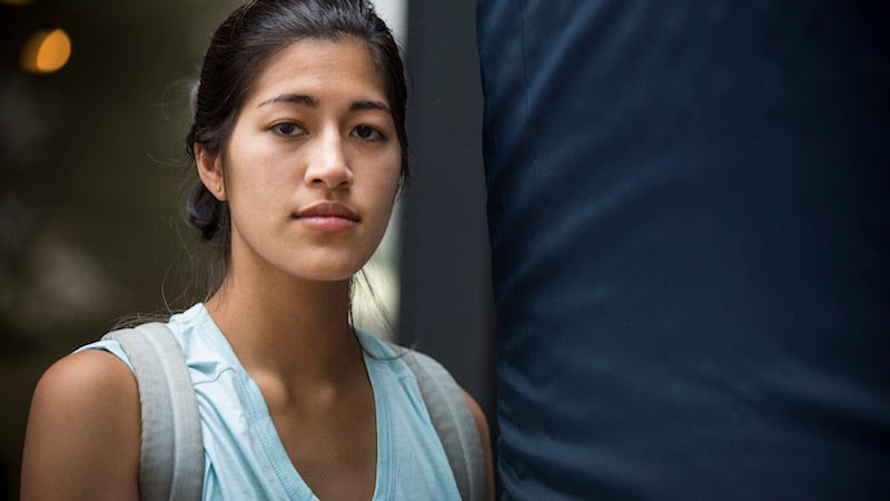 Sulkowicz during Mattress Performance. Image via Getty.