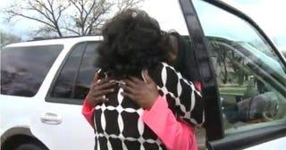 Renion in April 2015 between Zella Jackson Price and her biological daughter Melanie GilmoreKTVI screenshot