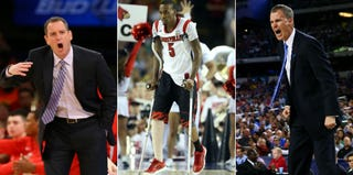 Mike Rice (Al Bello/Getty); Kevin Ware (Andy Lyons/Getty); coach Andy Enfield (Tom Pennington/Getty)