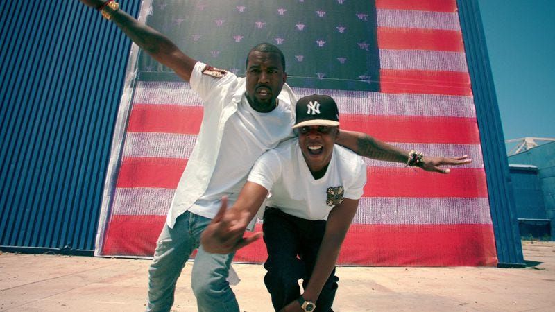 """West and Jay Z in the """"Otis"""" video"""