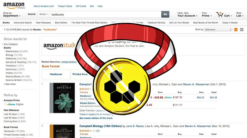 Illustration for article titled Most Popular Site to Buy Cheap Textbooks: Amazon