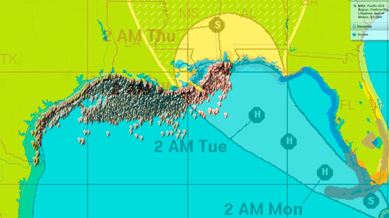 Illustration for article titled Fill Up Now, There Are A Lot Of Oil Rigs In Tropical Storm Isaac's Path
