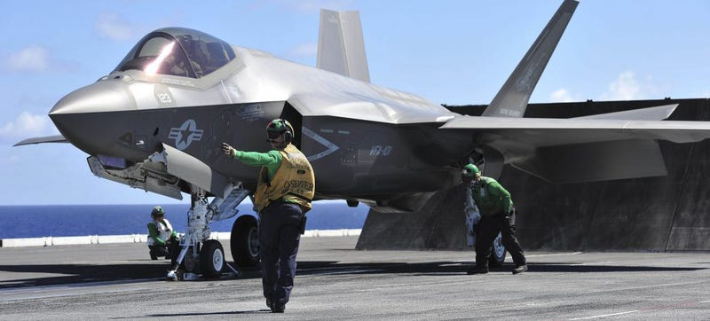 An F-35 prepares for a perhaps less-than-smooth takeoff on the USS George Washington. Photo Credit: The U.S. Navy