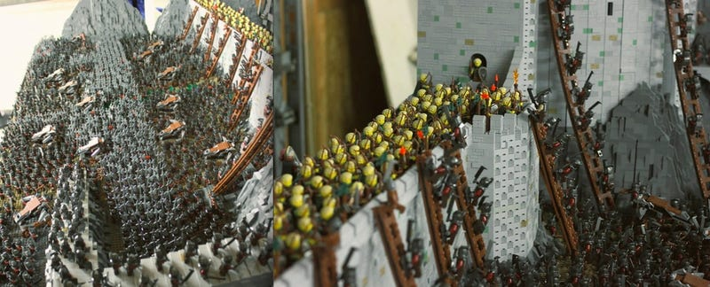 Illustration for article titled A colossal 150k-piece Lego homage to the Battle of Helm's Deep