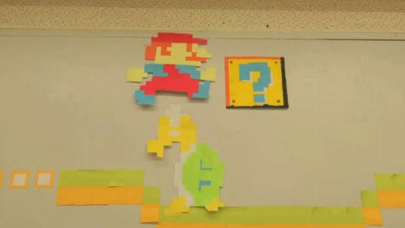 Illustration for article titled Someone made a colorful stop-motion Super Mario Bros. clip out of Post-It Notes