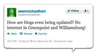 Illustration for article titled Twitter Reacts to the Great Williamsburg Internet Outage of 2012