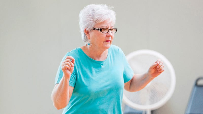 So Annoying: This Woman Who's Doing All The Steps Wrong In A Zumba Class Is Really Getting In The Way But She's Too Elderly For The Teacher To Do Anything About It