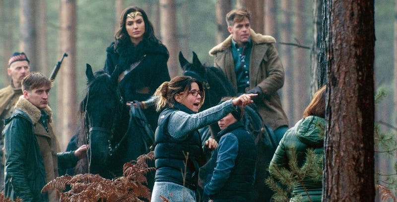 Patty Jenkins takes charge on the set of Wonder Woman. Image: Warner Bros.