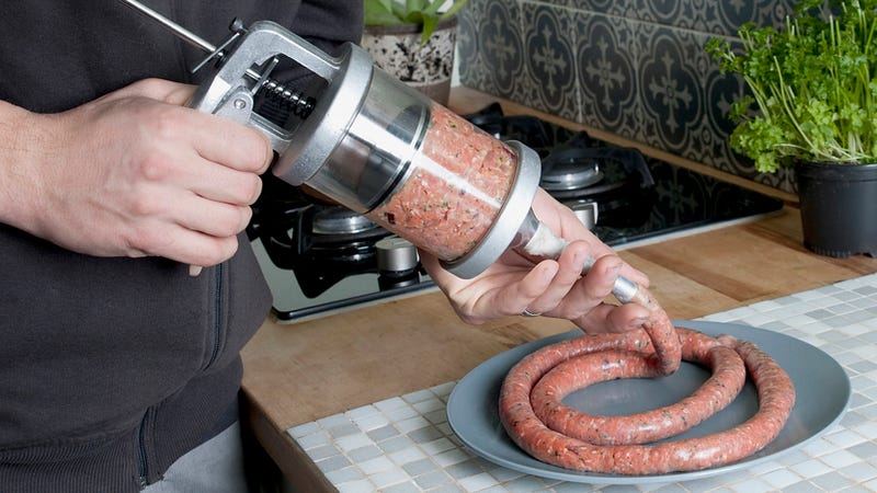 Illustration for article titled This Sausage Gun Fires Mouthwatering Ammo