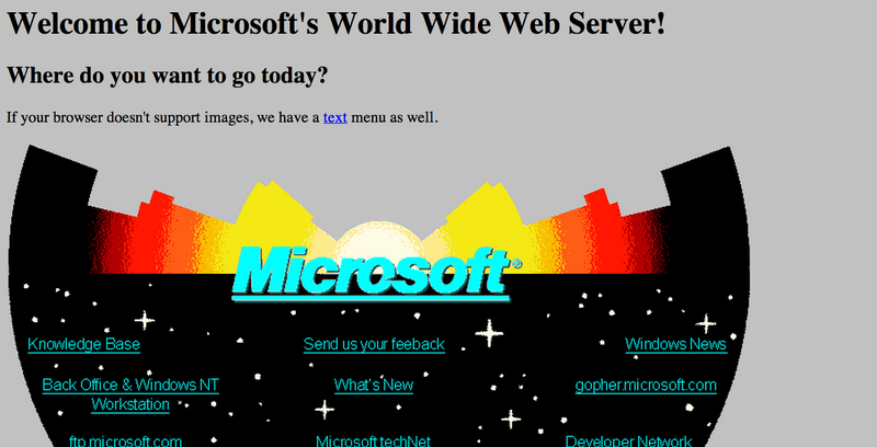 Illustration for article titled Microsoft's First Website From 1994 Looks Delightfully Ancient Today