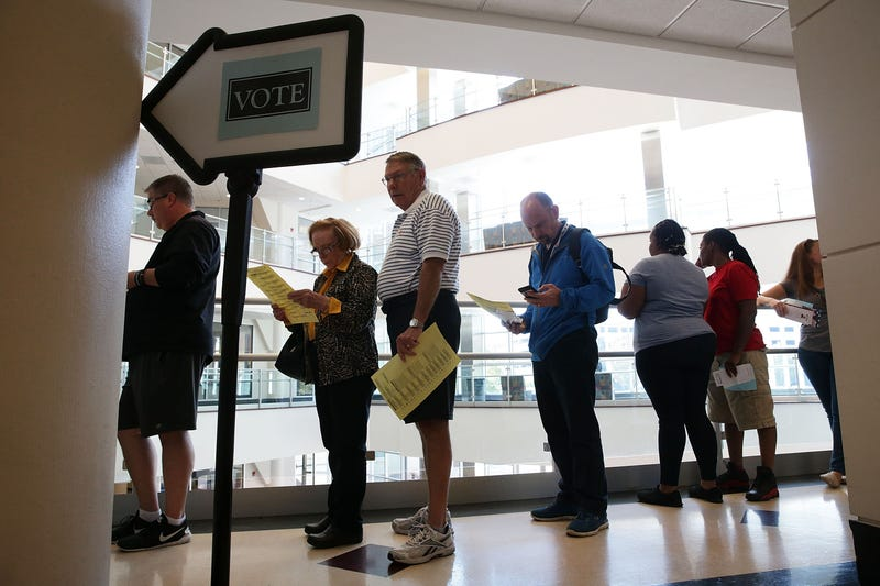 Voters wait in line to cast their ballots during early voting for the 2016 presidential general election Oct. 28, 2016, at the Forsyth County Government Center in Winston-Salem, N.C. Early voting has begun in North Carolina and goes through Nov. 5, 2016.Alex Wong/Getty Images