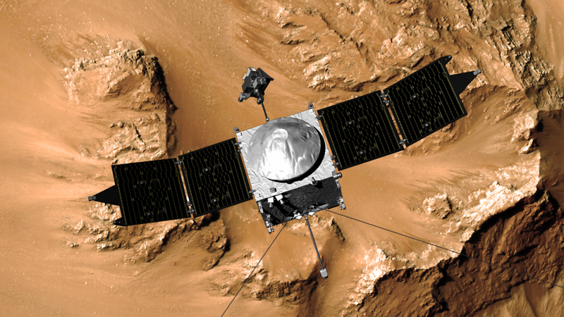 """Illustration for article titled MAVEN """"Nails It,"""" Swinging Into Mars Orbit With Style"""