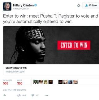 Hillary Clinton campaign tweet featuring Pusha TTwitter