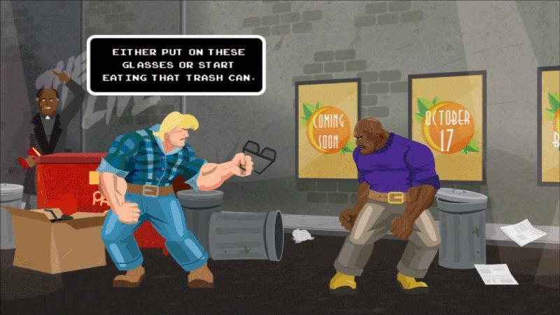 Illustration for article titled Experience They Live's fight sequence as a Capcom-style fighting game