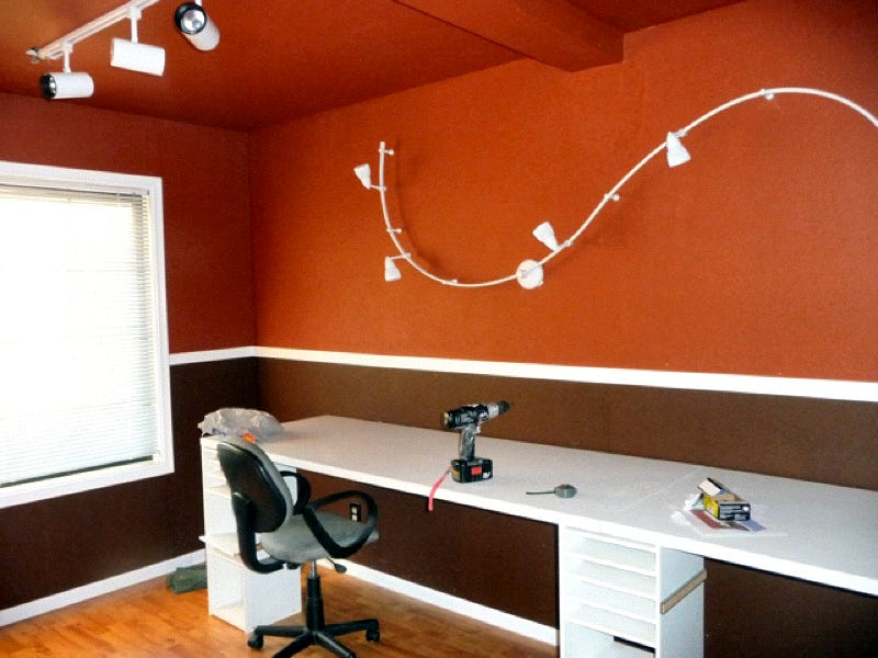 Illustration for article titled Red Walls and Dramatic Lighting: An Inexpensive Office Makeover - Gallery