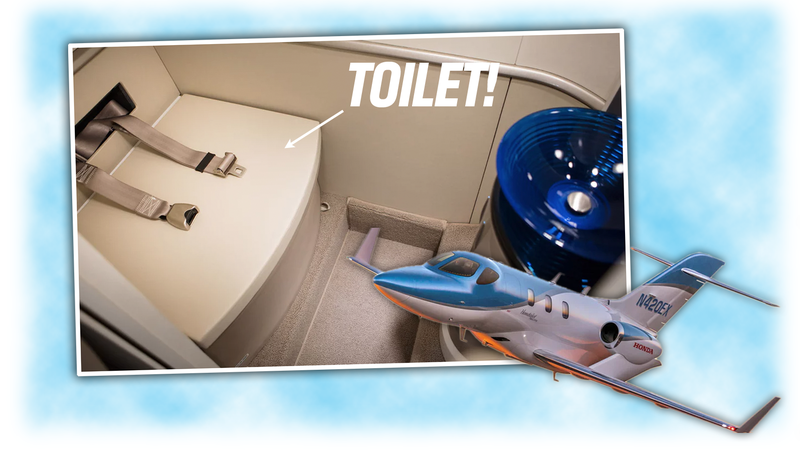Illustration for article titled New HondaJet Has A Toilet With Seat Belts, Other Lesser Improvements