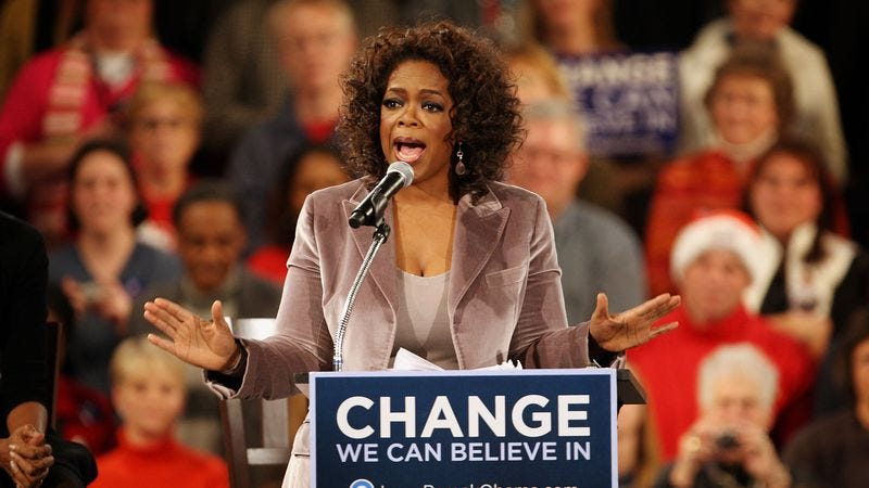 Oprah Winfrey campaigning for Barack Obama. (Photo: Getty Images, Scott Olson)