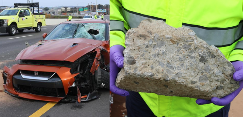 The Nissan GT-R and piece of concrete from the crash.