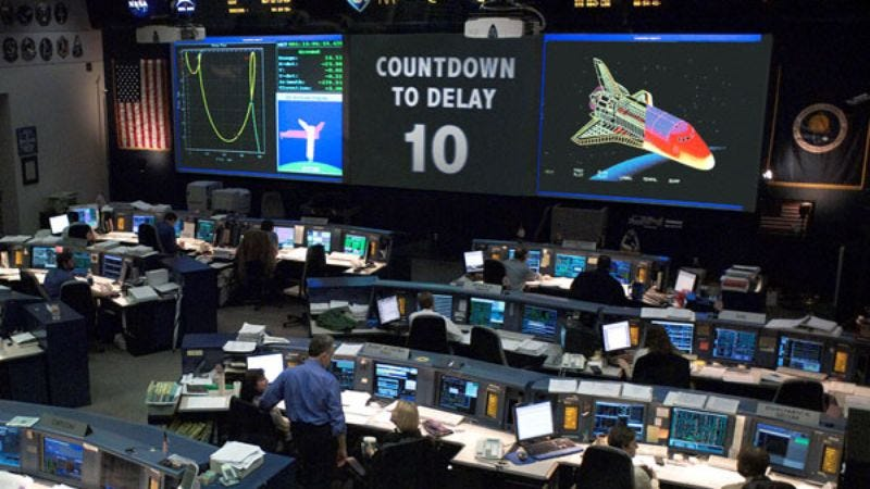 The Mission Control countdown clock was reset four times before it needed to be repaired.