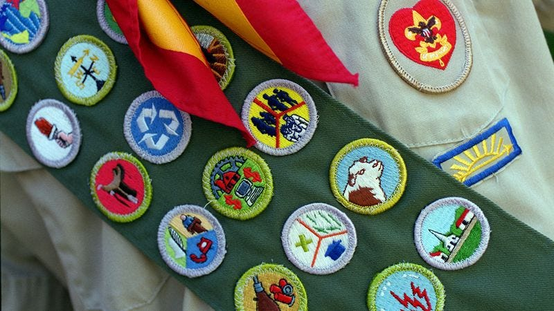 Illustration for article titled Can You Match The Scout Badge To The Reason It Was Revoked From Me?
