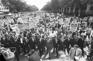 Martin Luther King Jr. and other civil rights leaders at the March on Washingtonin Aug. 1963. (AFP/AFP/Getty Images)