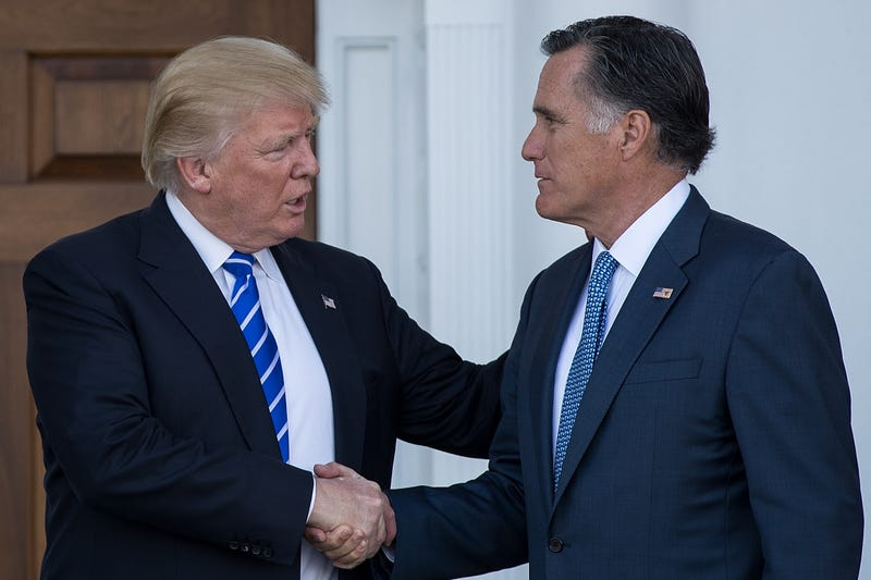 President-elect Donald Trump shakes hands with Mitt Romney after their meeting at Trump International Golf Club on Nov. 19, 2016, in Bedminster Township, N.J.Drew Angerer/Getty Images