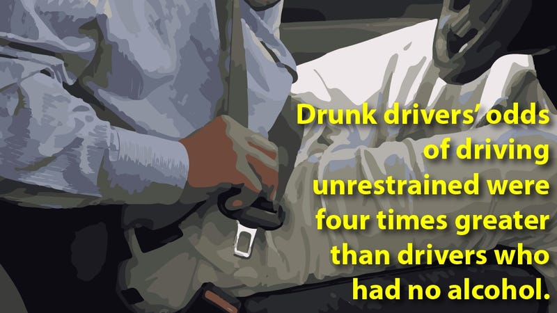 Illustration for article titled People who drive fast, license-less or drunk don't like to wear seat belts
