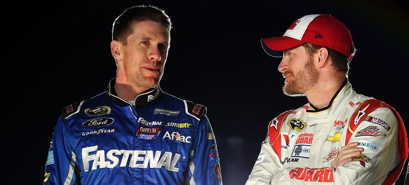 Carl Edwards (left) and Dale Earnhardt Jr. (right). Photo credit: Todd Warshaw/Getty Images