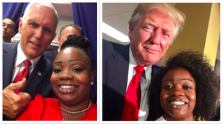 Selfies of Shalira Taylor with Vice President Mike Pence and President Donald Trump (courtesy of Shalira Taylor)