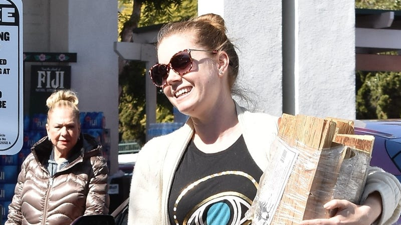 Amy Adams smiling as she holds a pile of wood.
